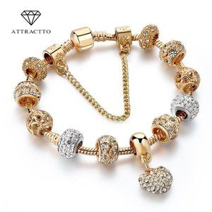 ATTRACTTO Luxury Crystal Heart Charm Bracelets&Ban